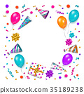 Birthday greeting card, banner with space for text 35189238