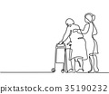 Young woman help old woman using a walking frame 35190232
