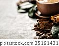 Closeup coffee beans arrangement 35191431