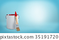 3d rendering of a clean new paint brush leaning on 35191720