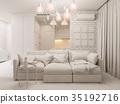 3d illustration living room and kitchen interior 35192716