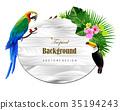 Tropical island circlet of beautiful plants 35194243