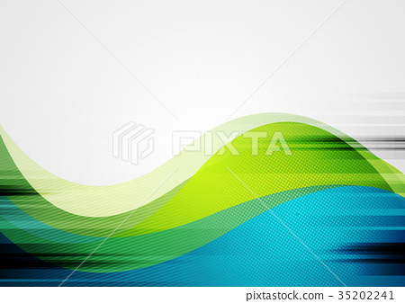Green and blue abstract grunge wavy background 35202241
