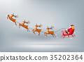 Merry Christmas, Santa Claus drive sleigh reindeer 35202364