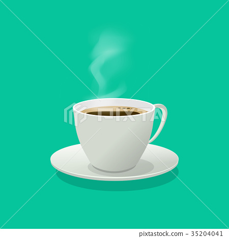 Hot coffee cup glass vector illustration with 35204041