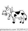 Illustration of Milk Cow Cartoon - Vector Hand  35205412