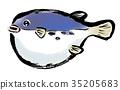 插图 水彩画 河豚鱼 35205683