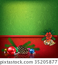 green red greeting with Christmas decorations 35205877