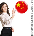 Woman point on the bubble with chenese flag. 35205914