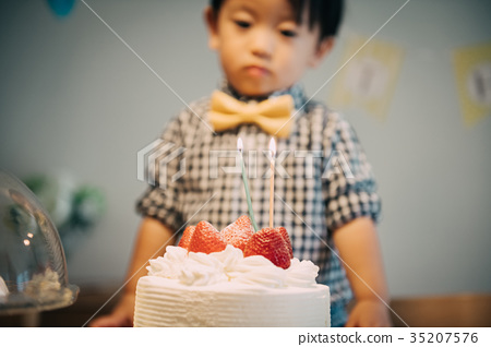Birthday Cake And Boy 2 Years Old Birthday Stock Photo 35207576 Pixta