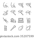 Make-up and cosmetic line icon set 1. 35207599