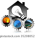 Renewable Resources - House with Light bulb 35208052