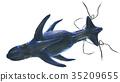 바다의 괴물 상어 흉내 위에서 흰색 백 소재 35209655