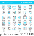 Files and documents flat line icons 35210489