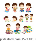 Childrens reading book various actions 35211013