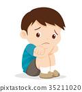 sad boy sitting alone 35211020