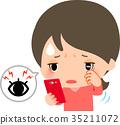 婦女摩擦眼睛,當看智能手機時 35211072