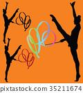 rhythmic gymnastics with ribbon silhouette 35211674