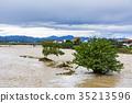 태풍, 아침, 강 35213596