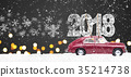 Retro toy car with christmas gifts 35214738