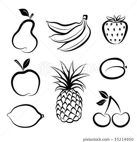 Fruit icon set. Fresh dessert. Fruits and berries 35214950