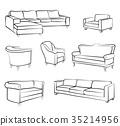 chair, armchair, sketch 35214956