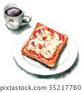 水彩畫 吐司 咖啡 35217760