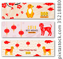 Set Banners with Chinese New Year Earthen Dog 35218880