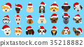 Set Different Breeds of Dogs in Hats of Santa 35218882