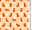 Seamless Pattern with Different Breeds of Dogs 35218888