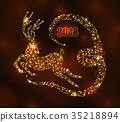 Christmas Light Deer for Happy New Year, Running 35218894