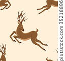 Seamless Pattern with Jumping Deers, Retro Texture 35218896