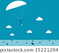 Businesswoman parachuting.  35221204