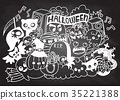 Vector illustration of Monsters and cute ghost  35221388