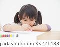 蜡笔 绘画 女孩 35221488