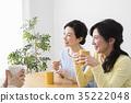 喝茶的中年婦女 35222048