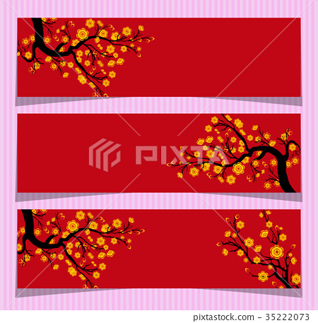 Vector Cherry blossom for Chinese New Year  35222073