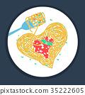 pasta, vector, fork 35222605
