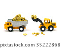Dump truck and bulldozer Dealing with gold mine 35222868