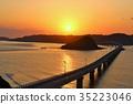 พระอาทิตย์ตกจาก Tsukushima Ohashi จังหวัด Yamaguchi 35223046