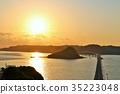 พระอาทิตย์ตกของ Tsukushima Ohashi ในจังหวัด Yamaguchi 35223048