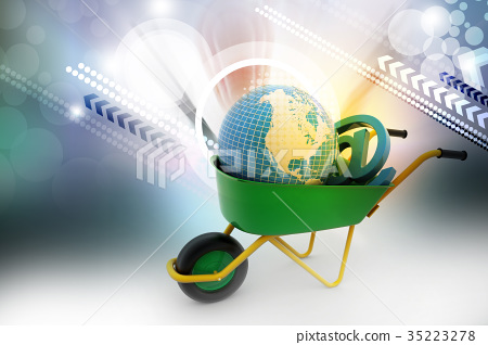 wheelbarrow carrying earth and email sign stock illustration