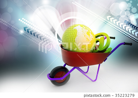 Wheelbarrow carrying earth and email sign 35223279