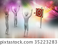 persons with a target and arrows 35223283