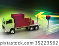 Transportation trucks in freight delivery 35223592