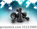 black pawn isolated on colour 35223989