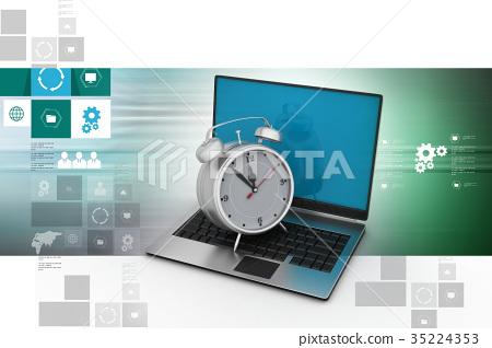 Laptop with alarm clock 35224353
