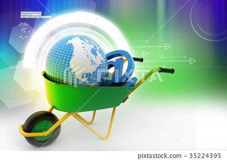 Wheelbarrow carrying earth and email sign 35224395
