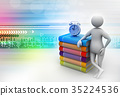 3d man with book and alarm 35224536