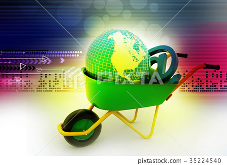 Wheelbarrow carrying earth and email sign 35224540